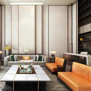沙发茶几,台灯,现代,窗帘,中式客厅