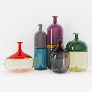 现代简约,组合,陈设品,玻璃瓶,现代玻璃瓶