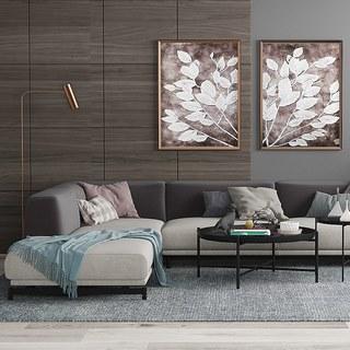 沙发茶几,植物,落地灯,组合,装饰画,北欧简约