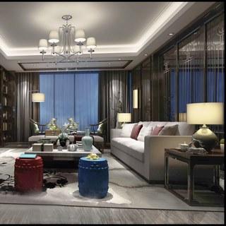 沙发茶几,吊灯,台灯,电视柜,新中式客厅
