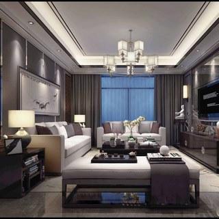 沙发茶几,吊灯,新中式客厅,装饰画