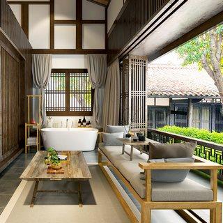 沙发茶几,床,植物,新中式卧室