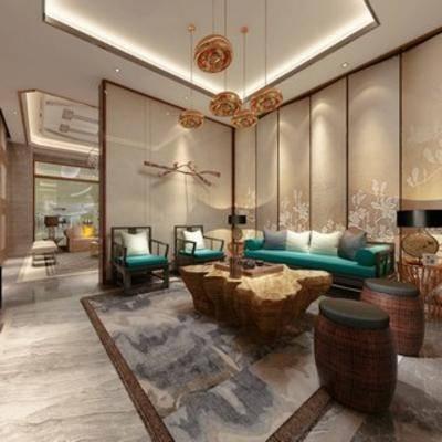 沙发茶几, 吊灯, 陈设品, 客厅, 新中式