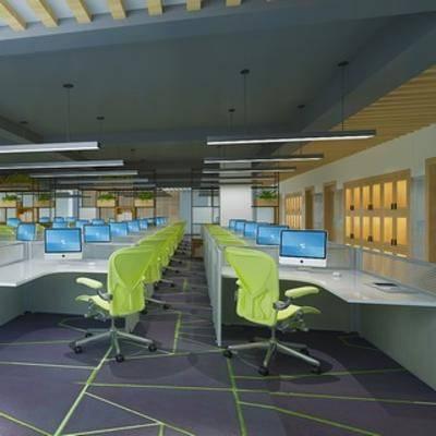 吊灯, 桌椅组合, 现代千亿国际app 娱乐网站, 办公室, 电脑