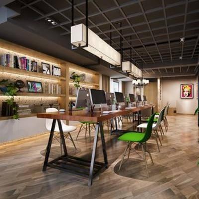 吊灯, 桌椅组合, 现代千亿国际app 娱乐网站, 办公室, 书架, 电脑