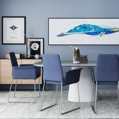桌椅组合, 现代简约, 桌椅, 组合, 现代桌子, 装饰画, 现代, 下得乐3888套模型合辑