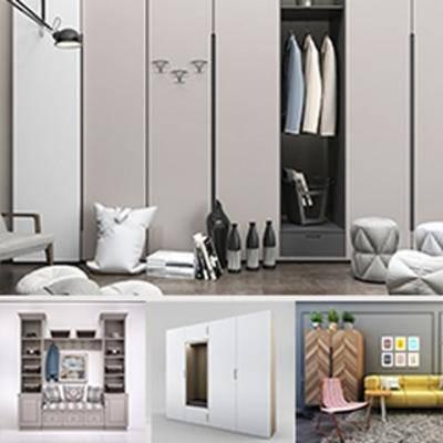 模型合集, 现代简约, 衣柜, 衣柜组合