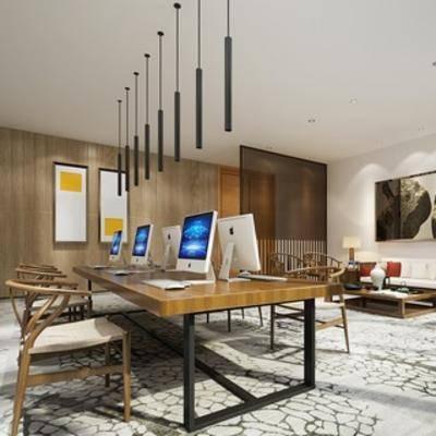 吊灯, 桌椅组合, 办公室, 新中式, 装饰画, 电脑