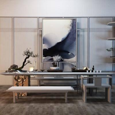 中式, 桌椅组合, 盆栽, 新中式, 装饰画, 下得乐3888套模型合辑