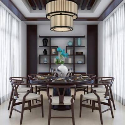 吊灯, 中式, 桌椅组合, 餐桌椅, 置物架, 新中式, 下得乐3888套模型合辑