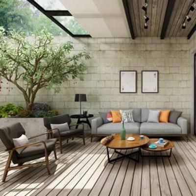 大树, 北欧简约, 装饰画, 庭院, 阳台, 椅子, 沙发茶几