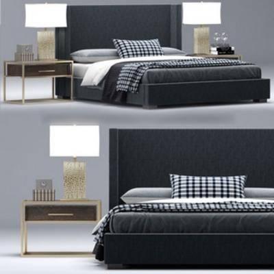 双人床, 现代床, 现代简约, 床