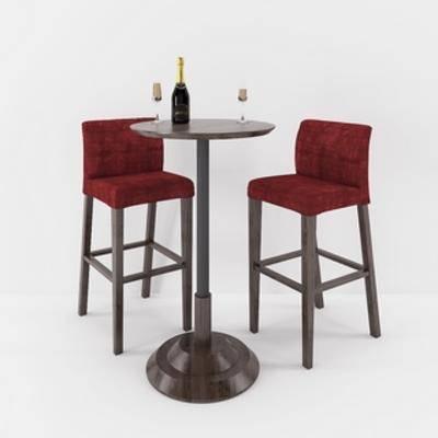 桌椅组合, 现代椅子, 现代吧台, 现代简约,吧台, 现代, 下得乐3888套模型合辑
