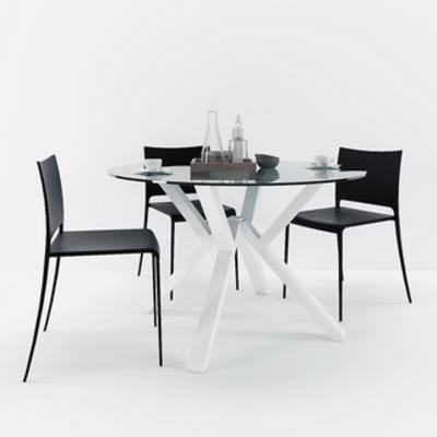 桌椅组合, 现代简约, 现代椅子, 现代桌子, 现代, 下得乐3888套模型合辑
