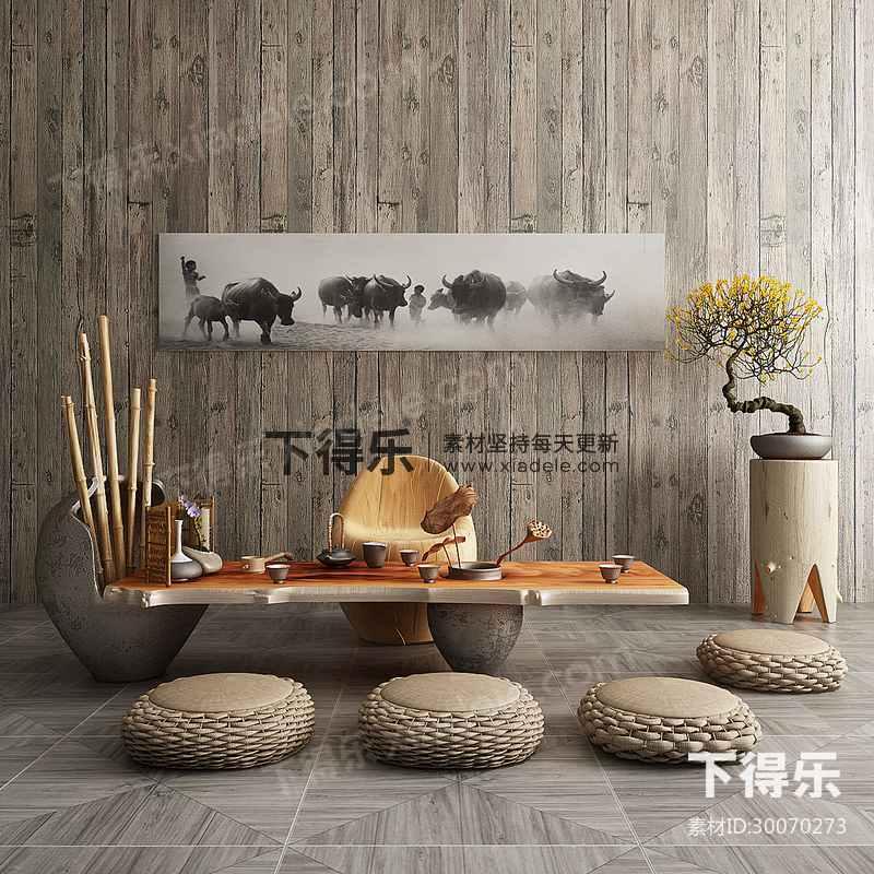 中式茶案茶具桌椅组合,中式