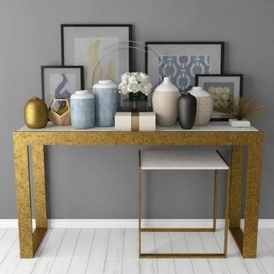 装饰画, 陈设品, 花瓶, 端景台, 组合, 现代简约
