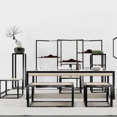 中式风格, 桌椅组合, 植物, 桌椅, 屏风, 中式, 下得乐3888套模型合辑