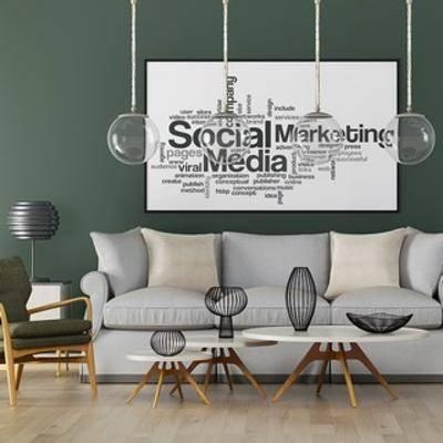 吊灯, 沙发茶几组合, 多人沙发, 装饰画, 北欧