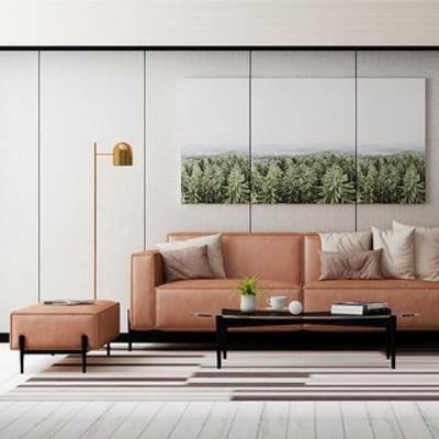 沙发茶几, 沙发茶几组合, 落地灯, 组合, 装饰画, 北欧