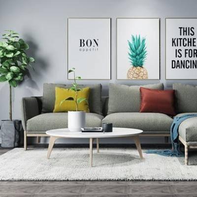 沙发茶几组合, 植物, 盆栽, 多人沙发, 装饰画, 北欧, 下得乐3888套模型合辑