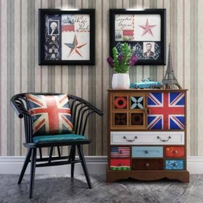 美式, 边柜, loft, 单人椅, 植物盆栽