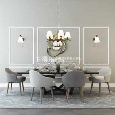 吊灯, 桌椅组合, 现代简约, 餐具, 现代