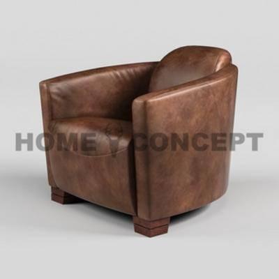 皮艺沙发, 美式, 单人沙发