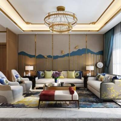 沙发椅, 沙发茶几组合, 台灯, 客厅, 新中式