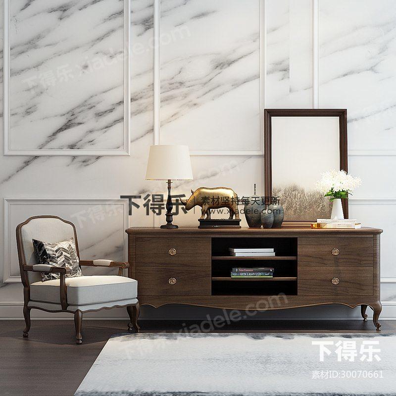 美式简约单人椅电视柜陈设品组合,美式