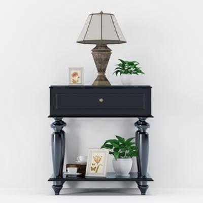植物盆栽, 陈设品组合, 欧式千亿国际app|娱乐网站, 欧式台灯, 床头柜