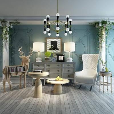 欧式, 现代简约, 茶几, 边柜, 单椅, 陈设品组合, 下得乐3888套模型合辑