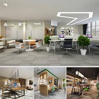 桌椅组合, 办公室, 电脑, 现代