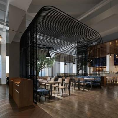 餐具, 餐厅, 现代简约, 桌椅组合, 吊灯