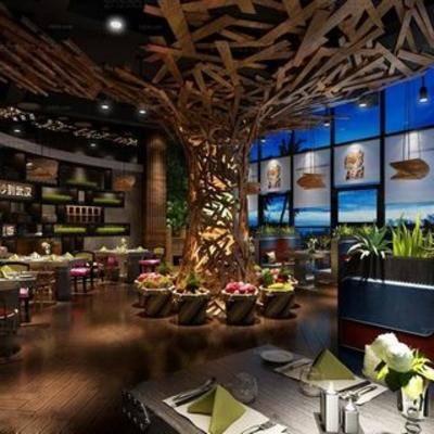 餐厅, 置物架, 植物, 桌椅组合, 中式, 吊灯