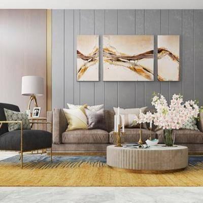 沙发椅, 沙发茶几组合, 装饰画, 欧式, 下得乐3888套模型合辑