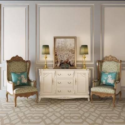 台灯, 边柜, 单人椅, 欧式简约, 陈设品组合
