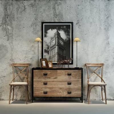 现代, 组合, 边柜, loft, 单人椅, 下得乐3888套模型合辑