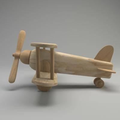 玩具, 木纹, 摆件, 飞机, 现代简约