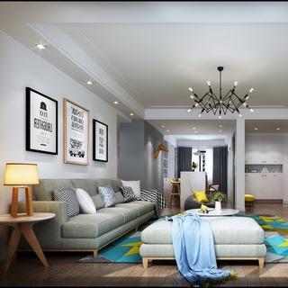 吊灯,沙发茶几组合,台灯,客厅,北欧简约
