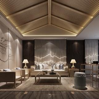 沙发茶几组合,台灯,客厅,新中式