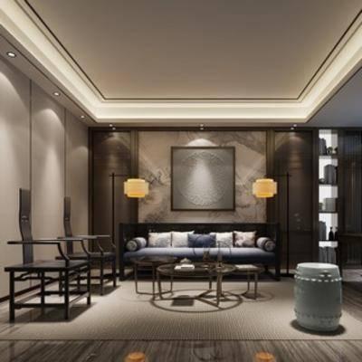 椅子, 沙发茶几组合, 现代, 客厅, 新中式