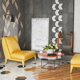 沙发椅,沙发茶几组合,植物,落地灯,现代简约