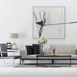 沙发茶几组合,台灯,现代简约,装饰画