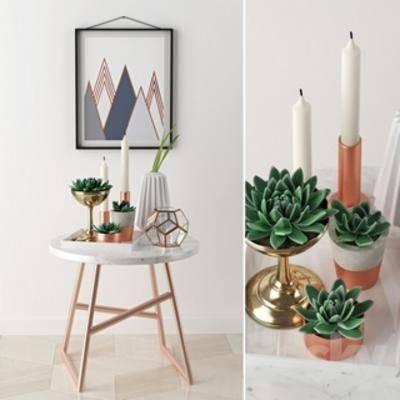 圆桌, 北欧风格, 摆件, 盆栽