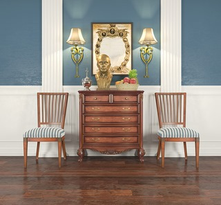美式,边柜,单人椅,陈设品组合