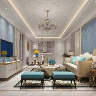 吊灯,床,沙发茶几组合,卧室,客厅,北欧简约