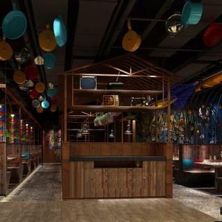 吊灯,桌椅组合,置物架,餐厅,东南亚,餐具