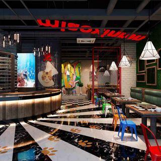 吊灯,桌椅组合,工业风,餐厅