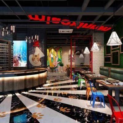 餐厅, 工业风, 桌椅组合, 吊灯
