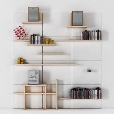 书本, 陈设品组合, 书架, 置物架, 现代简约